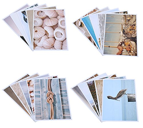 Best Paper Greetings 20 Pack Postcards Bulk Set Nautical Beach Seaside Glossy Postcards, Assorted Designs, 4 x 6 ()