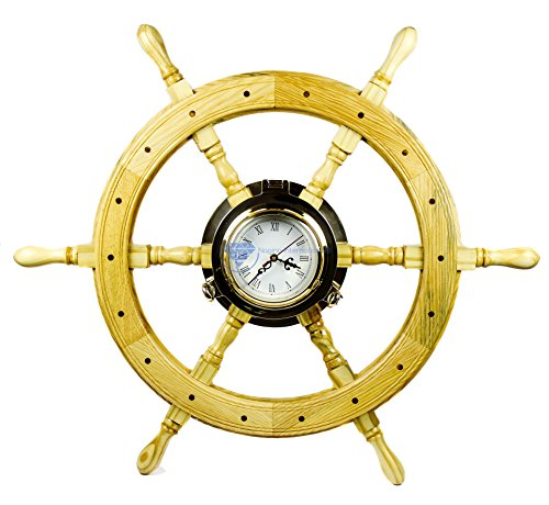 Premium Nautical Luxurious Elegant Pine Maritime Crafted Brass Porthole Clock Ship Wheel With Large Roman Dial Face | Sailor's Nursery Birthday Gift | Nagina International (24 Inches)