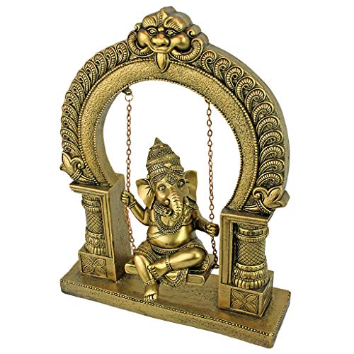 Design Toscano Lord Ganesha on Jhoola Swing Hindu Elephant God Statue, 10 Inch, Antique Gold