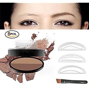 Eyebrow Stamp Powder Stamper Waterproof Long-lasting Brown Easy Press Natural Shape in Seconds (Dark Brown+ Coffee)