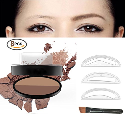 Eyebrow Stamp Powder Stamper Waterproof Long-lasting Brown Easy Press Natural Shape in Seconds (Dark Brown+ Coffee) Image