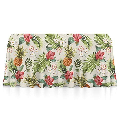 (GLORY ART Waterproof Tablecloth,Tropical Pineapple Flowers,Large Dust-Proof Vinyl Table Cloth Cover, Great for Dinner,Wedding,Patio,Parties,Holiday Dinner,Buffet Table&)