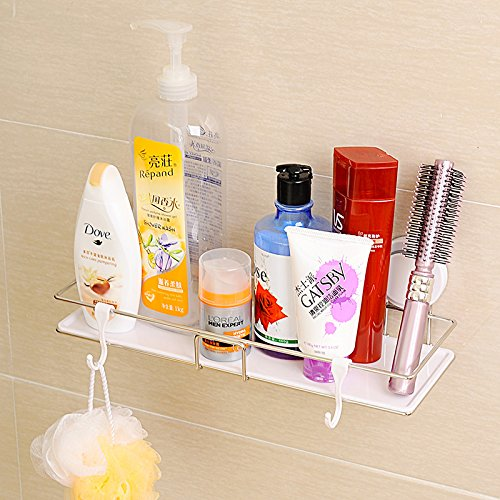 - Modern Bathroom Shampoo Storage Shelves Stainless Steel Rack With Plastic Tray Holder Double Suction Cup Wall Organizers