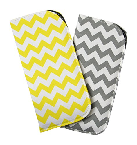 2 Pack Assortment Soft Canvas Eyeglass Slip Case Attractive Chevron Yellow Gray