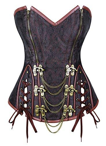 Charmian Women's Steel Boned Vintage Retro Brocade Double Zipper Overbust Corset Bustier Top Zip-Brown Large - Boned Bustier