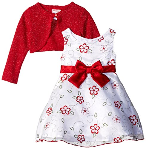 - Youngland Little Girls' 2 Piece Velour Cardigan with Embroidered Organza Dress, White/Red, 6X