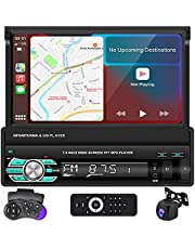 Apple Carplay Single Din Car Stereo, 7 Inch HD Retractable Touch Screen Car Radio with Bluetooth FM Radio TF/USB/AUX Mirror Link for Phone Android/iOS Car MP5 Player + Backup Camera Remote Control