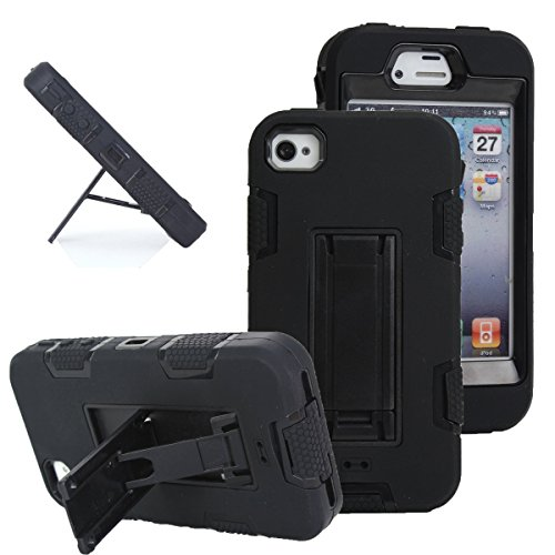 iPhone 4s case, iPhone 4 case, MagicSky Robot Series Hybrid Armored Case with Kickstand for Apple iPhone 4/4S - 1 Pack - Retail Packaging - Black