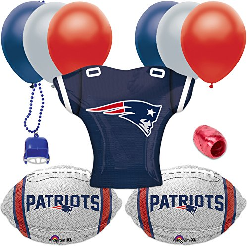 New England Patriots Jersey Football Foil Balloons 11pc Playoffs Party Pack -