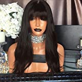 Kerrywigs Brazilian Hair Straight Full Lace Wigs With Bangs For Black Women 130 Density Glueless Black Lace Front Human Hair Wigs With Fringe (16inch, Lace Front Wig)