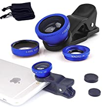 ONX3 LG G3 Screen (Blue) Mobile Phone Universal Camera Lens 3 in 1 Kit Wide Angle Lens + Fisheye Lens + Macro Lens with Clip-on 180 Degree For Both Android and iOS Devices