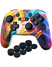 YoRHa Studded Silicone Transfer Print Cover Skin Case ONLY for Nitendo Official Switch Pro Controller x 1(Colourful Stream) with Pro Thumb Grips x 8