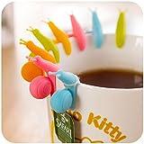 High-Season 5 PCS Cute Snail Shape Silicone Tea Bag Holder Cup Mug Candy Colors Gift Set GOOD Random Color