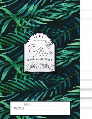 Olive Blank Music Sheets: 12 Stave - Size 8.5x11 (Vol 1)