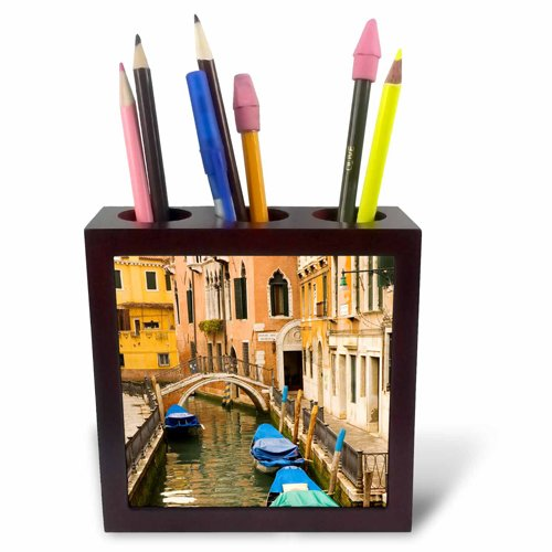 3dRose ph_82118_1 Small Canal and Bridge in Venice, Italy-Eu16 Kpi0038-Kristin Piljay-Tile Pen Holder, 5-Inch (Pen Holder Pencil Tile)