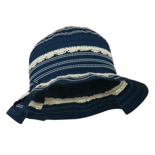 - Girl's Bucket Hat with Lace Detail - Navy OSFM