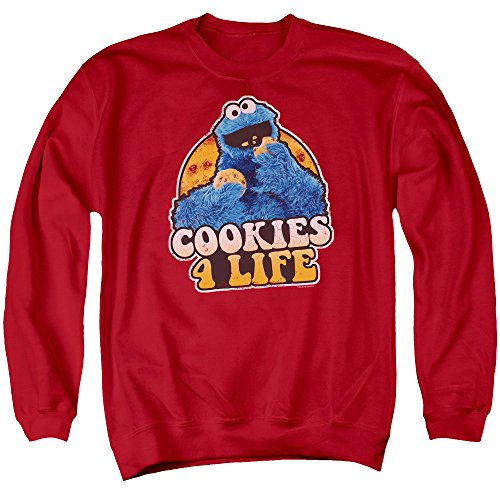 Sesame Street TV Show Cooky Monster Cookies 4 Life Adult Crewneck Sweatshirt