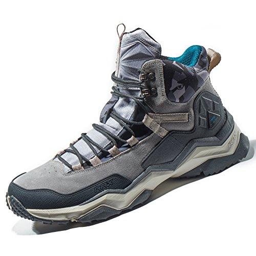 RAX Men's Wild Wolf Mid Venture Waterproof Lightweight Hiking Boots,Light Grey,9.5 D(M) -