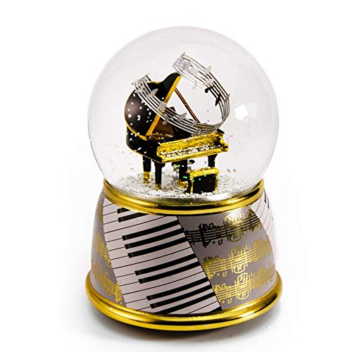 Music Theme Grand Piano with Painted Base Musical Water/Snow Globe - Over 400 Song Choices - Under The Sea (The Little Mermaid) - Swiss (Little Mermaid Snow Globe Under The Sea)