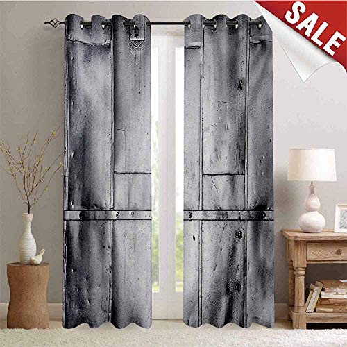 Hengshu Industrial Window Curtain Fabric Steel Panels Industrial Wall Theme Aluminum Background Futuristic Engineering Print Drapes for Living Room W72 x L108 Inch Silver