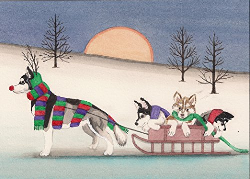12 Christmas Cards: Siberian husky family takes holiday sled ride / Lynch print ()