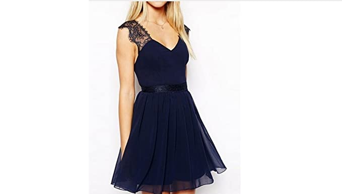 c33e7f8b24 Work Wear Sexy Party Blue Contrast Lace Backless Dress Blue at ...