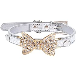 PEHTEN Dog Collar Bling Crystal Bow Leather Pet Collar Puppy Choker Cat Necklace XS S M W S