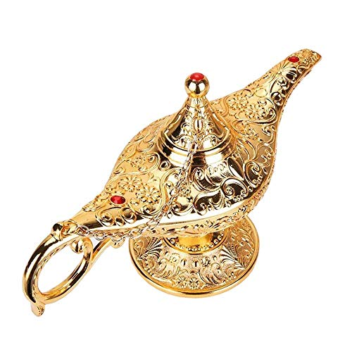 Ziv Luxury Classic Legend Aladdin Magic Genie Light Lamp Pot Classic Silver-Tin Alloy Decoration & Gift (Gold)]()