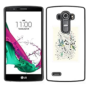 LECELL--Funda protectora / Cubierta / Piel For LG G4 -- Diseño floral de primavera blanca minimalistas Birds --