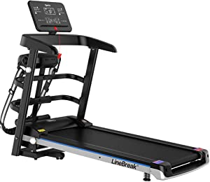 AMAZOM Folding Treadmill, 2.5HP Electric Portable Treadmill with Table Holder & Bluetooth Speaker & LCD Monitor, Cardio Workout Fitness Running Machine for Office Home Gym