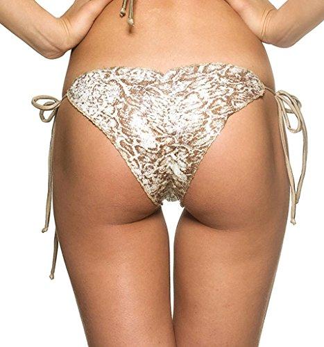 COQUETA Brazilian Bikini Scrunch Bottom Wavy Sexy Teeny Swimsuit BUMBUM CREAM-SM