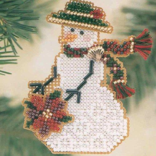 mer Bead Counted Cross Stitch Christmas Ornament Snowman Kit Mill Hill 2001 Snow Charmers MHSC30 ()