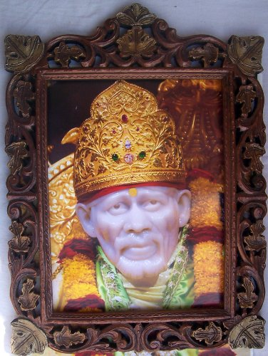 Lord Sai Baba in Stone Carve Status Poster Painting in Wood Craft Frame by HandicraftStore