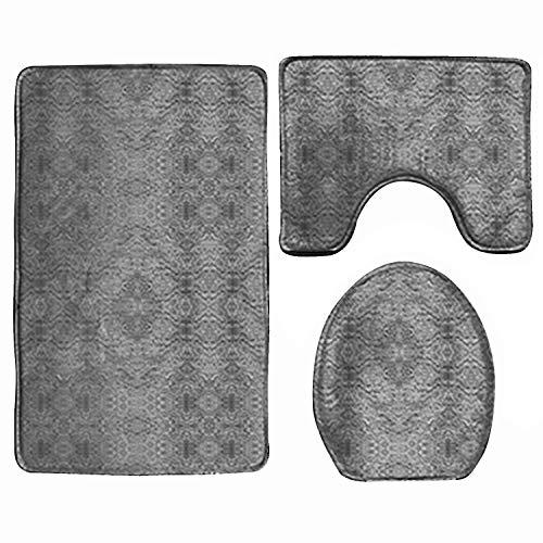 (Bathroom Mats Set,Cute Manatee 3-Pieces Bathroom Rugs and Mats Non-Slip Shower Lid Mat Sets Including Bath Pad + U-Shaped Pedestal Mat + Toilet Seat Cover)