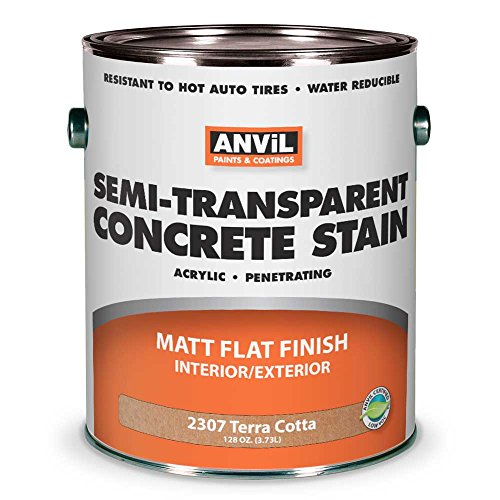 Anvil Semi-Transparent Concrete Stain Penetrating Acrylic Interior-Exterior Color Terra Cotta - 1 Gallon