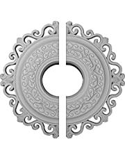 """Ekena Millwork CM22OR2 Orrington Ceiling Medallion, 22""""OD x 6 1/4""""ID x 1 3/4""""P (Fits Canopies up to 6 1/4""""), Factory Primed"""