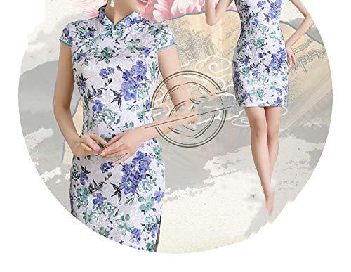 ストローク免除する電話チャイナドレス唐スーツ夏の花のスリムファッション長いドレス,青緑の花,M