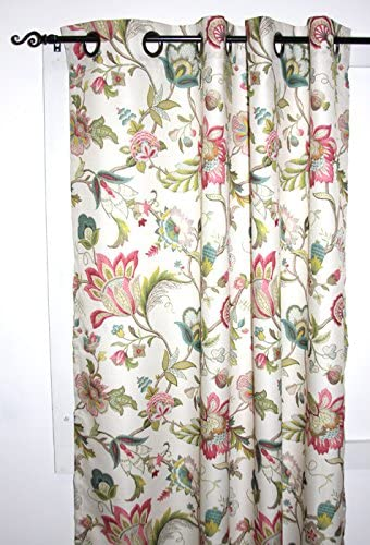 Brissac Lined Floral Print Grommet Curtain Panel 50-Inch-by-54-Inch