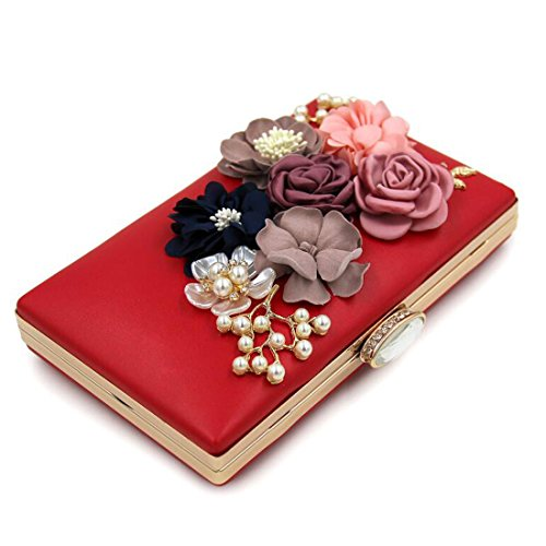 Party Beaded Satin Womens Wedding Red Handbag Bag Evening Bridal Clutch Flower Pearl Purse EPLAZA Prom q7w0ZH