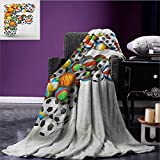 Letter F travel blanket Shape of Letter F with Colorful Balls for Kids Alphabet Design Sporting Goods Flannel blanket Multicolor size:50''x60''
