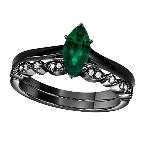 1.00 Ct Marquise Shape & Round Cut Green Emerald & White CZ Diamond 14k Black Gold Plated Art Deco Vintage Design Wedding Bridal Set Engagement Ring