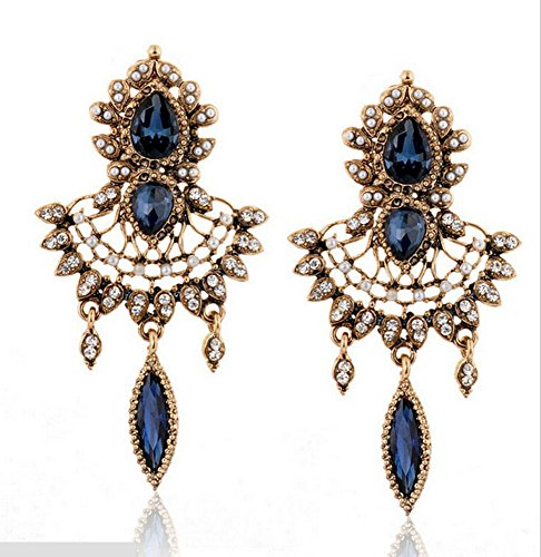 Adorable Woman Accessory luxury court Austrian Crystal pendant Earrings