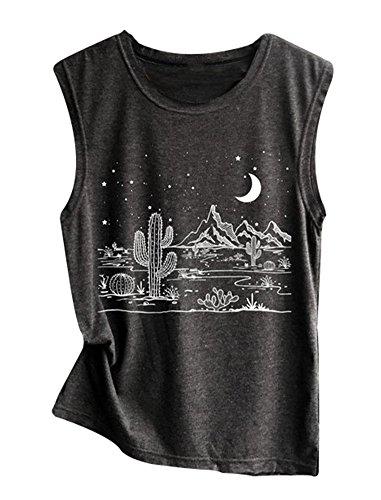 Women Desert Starry Night Shirt Cactus Tank Top Muscle Shirt Tee Tops (Dark Gray, S) ()