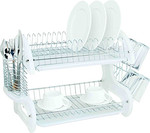 Home Basics Plastic 2-Tier Dish Drainer Rack, Air Drying and Organizing Dishes, Side Mounted Cutlery Holder, White