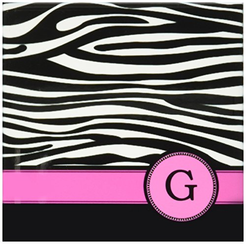 3dRose cst_154278_3 Letter G Monogrammed Black White Zebra Stripes Animal Print with Hot Pink Personalized Initial Ceramic Tile Coasters, Set of ()