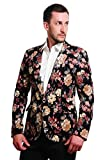 MOGU Mens 1 Button Floral Cotton Blazer Sport Coat Jacket US Size 32 Pink