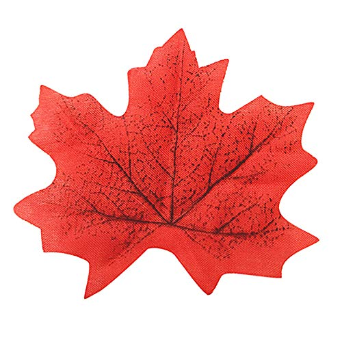 (Ameesi 100 Pcs Fall Fake Silk Leaves Wedding Favor Autumn Maple Leaf Wedding Decoration - Red)