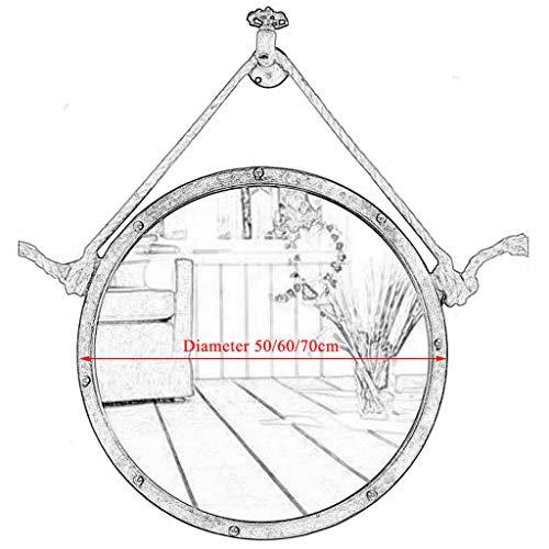 50/60/70cm Diameter Round Hanging Mirror Living Decoration Vanity Mirror Shaving Mirror Bathroom with Chain Wall Mirror by GYX-Bathroom Mirror (Image #1)
