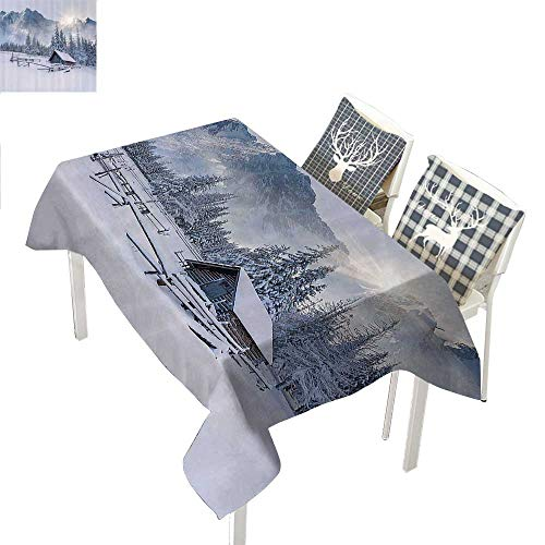 WilliamsDecor Apartment Decor Collection Table Cover Old Farm House by The Mountain in The Winter Season Cold Times in Rural Nature Scene PhotoWhite Rectangle Tablecloth W60 xL102 inch -