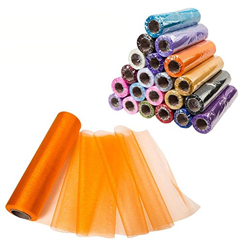 Meijuner 29CM Width X 25M Length Organza Roll Sashes Fabric Table Runner Chair Sashes Bow for Decoration (Orange Organza Fabric)